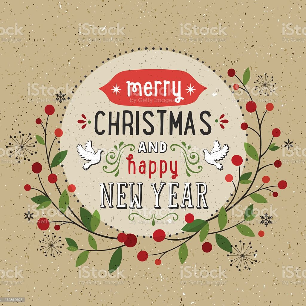 Hand Drawn Holiday Card royalty-free stock vector art