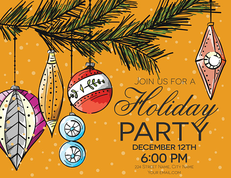 Hand Drawn Holiday Party Card