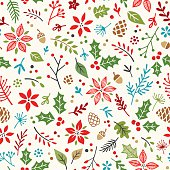Seamless pattern of cute hand drawn holiday elements.  AI10 file with uncropped shapes and hi res jpeg included. Scroll down to see more of my designs linked below.