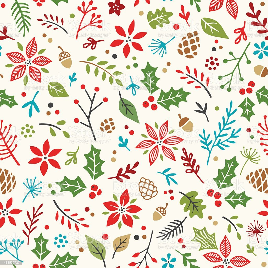 Hand Drawn Holiday Seamless Pattern vector art illustration