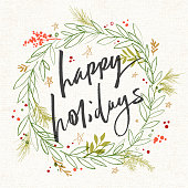Hand drawn Holiday, Christmas illustration with pine tree branches, berries, and greetings.