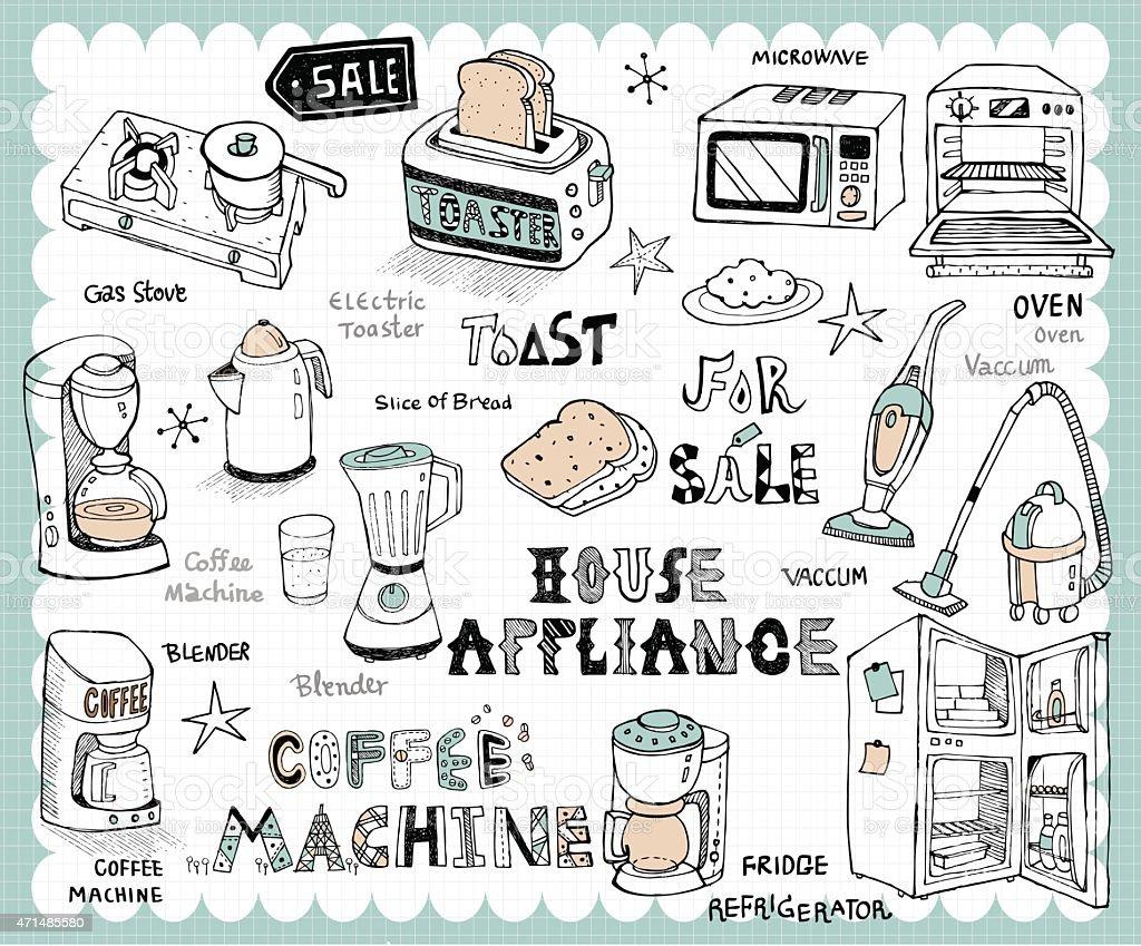 Hand drawn home appliance set vector art illustration