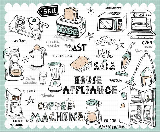 hand drawn home appliances set - küchenmixer stock-grafiken, -clipart, -cartoons und -symbole
