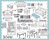 Illustration with furniture for dining and living room related words in hand drawn style and on the grid background. All text and illustration is hand-drawn.