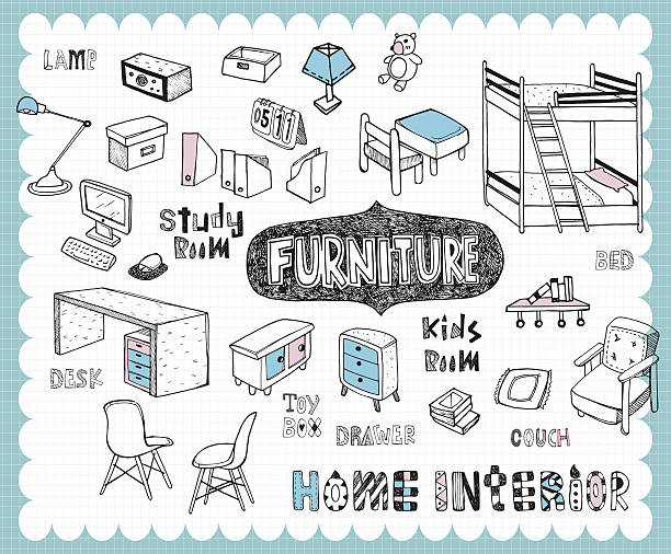 Hand drawn home furnishing set-Study room and Kids room Illustration with furniture for study and kids room related words in hand drawn style and on the grid background. All text and illustration is hand-drawn. bedroom drawings stock illustrations