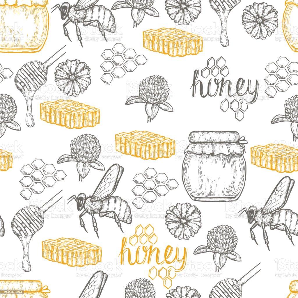 Hand drawn honey seamless pattern over white background vector art illustration