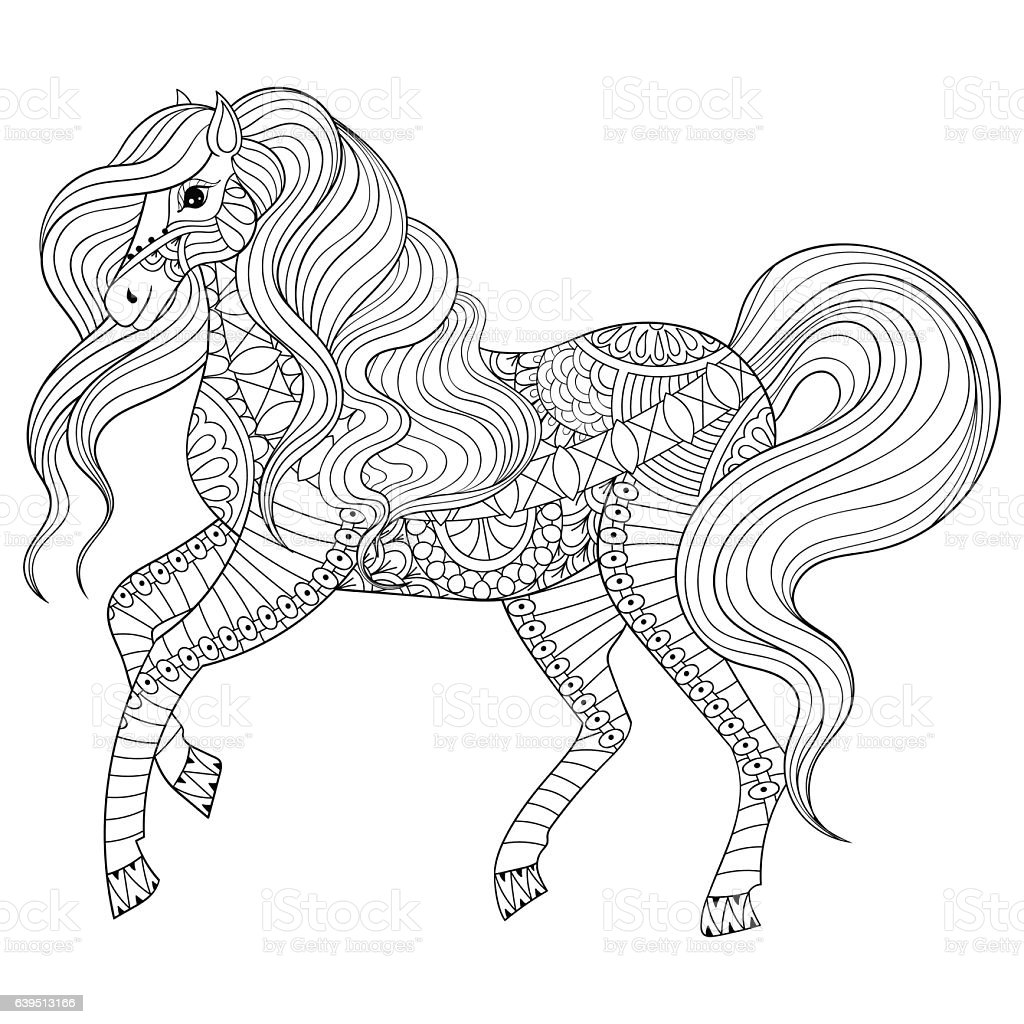 coloring book pages of horses | Hand Drawn Horse For Adult Coloring Page Art Therapy Stock ...