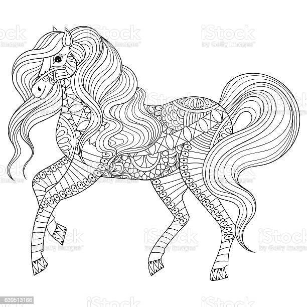 Hand Drawn Horse For Adult Coloring Page Art Therapy Stock Illustration - Download Image Now