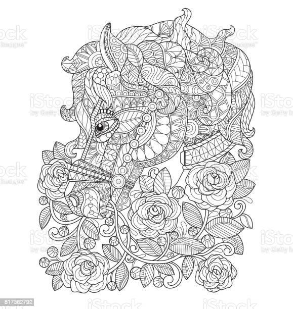 Hand drawn horse in the raose garden for adult coloring page vector id817362792?b=1&k=6&m=817362792&s=612x612&h=m073ktf9q6  db9b6lqiaz0semadfjlshjxavaabomm=