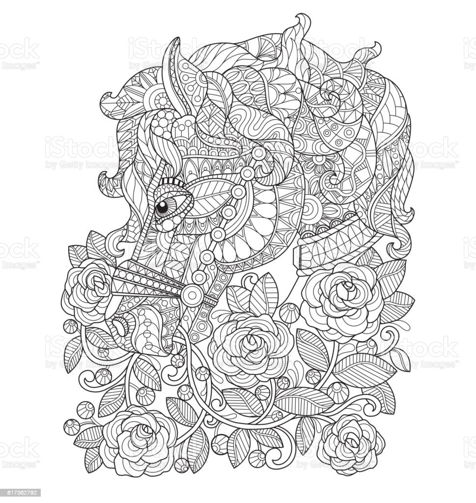Hand dras häst i raose trädgården för vuxen målarbok. vektorkonstillustration