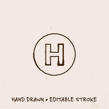Hand Drawn Hospital Icon with Editable Stroke