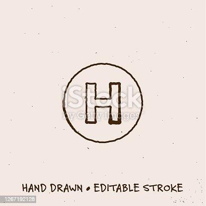 Sketchy Hospital Icon with Editable Stroke