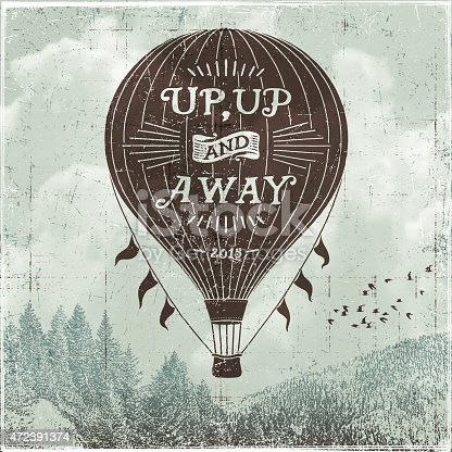 Hand drawn hot air balloon sign over clouds and mountain ridge.EPS 10 file contains transparencies.File is layered with global colors. Only gradients used.More works like this linked below.http://www.myimagelinks.com/Lightboxes/FRAMES,BANNERS_%26_LABELS_files/shapeimage_2.png