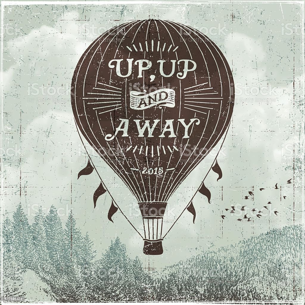 Hand Drawn Hot Air Balloon Sign vector art illustration