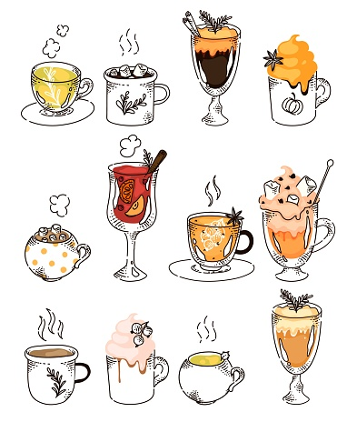 Hand drawn hot drink variety in row isolated on white