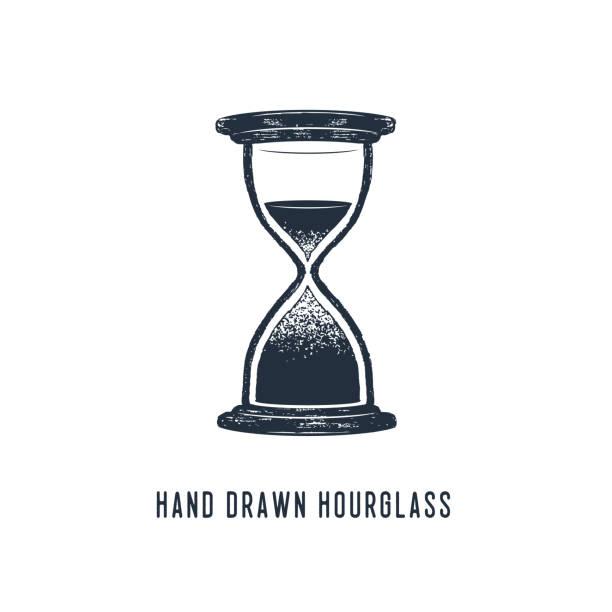 Hand drawn hourglass vector illustration. - ilustração de arte vetorial