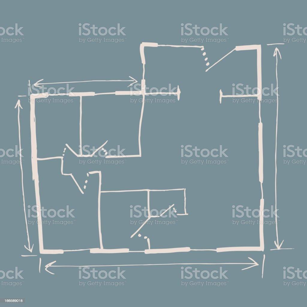 Hand drawn house blueprint royalty-free stock vector art