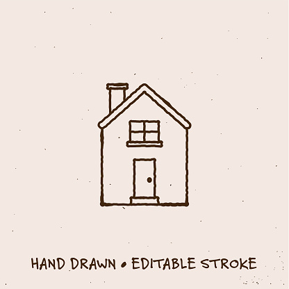 Hand Drawn House Icon with Editable Stroke