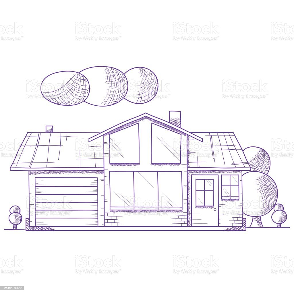 Hand drawn house with trees on ground ilustração de hand drawn house with trees on ground e mais banco de imagens de abstrato royalty-free