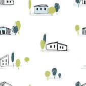 Hand drawn houses and trees on white background. Vector  seamless pattern.