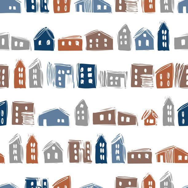 ilustraciones, imágenes clip art, dibujos animados e iconos de stock de casas dibujadas a mano sobre fondo blanco - conceptos y temas
