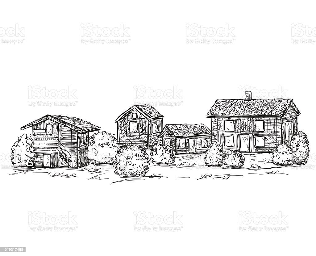 Handgezeichnet Hauser Skizze Kritzeleien Baum Lizenzfreies Stock Vektor Art Und