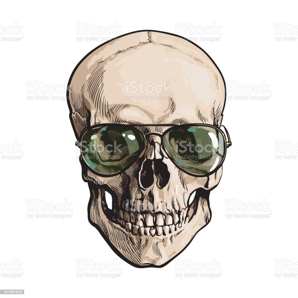 Hand drawn human skull wearing green aviator sunglasses vector art illustration