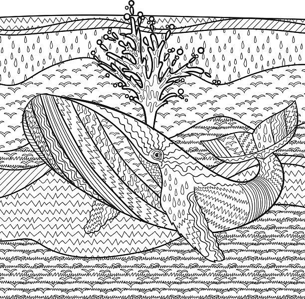 ilustrações, clipart, desenhos animados e ícones de mão desenhadas baleia-jubarte em ondas. - fontes de tatuagem