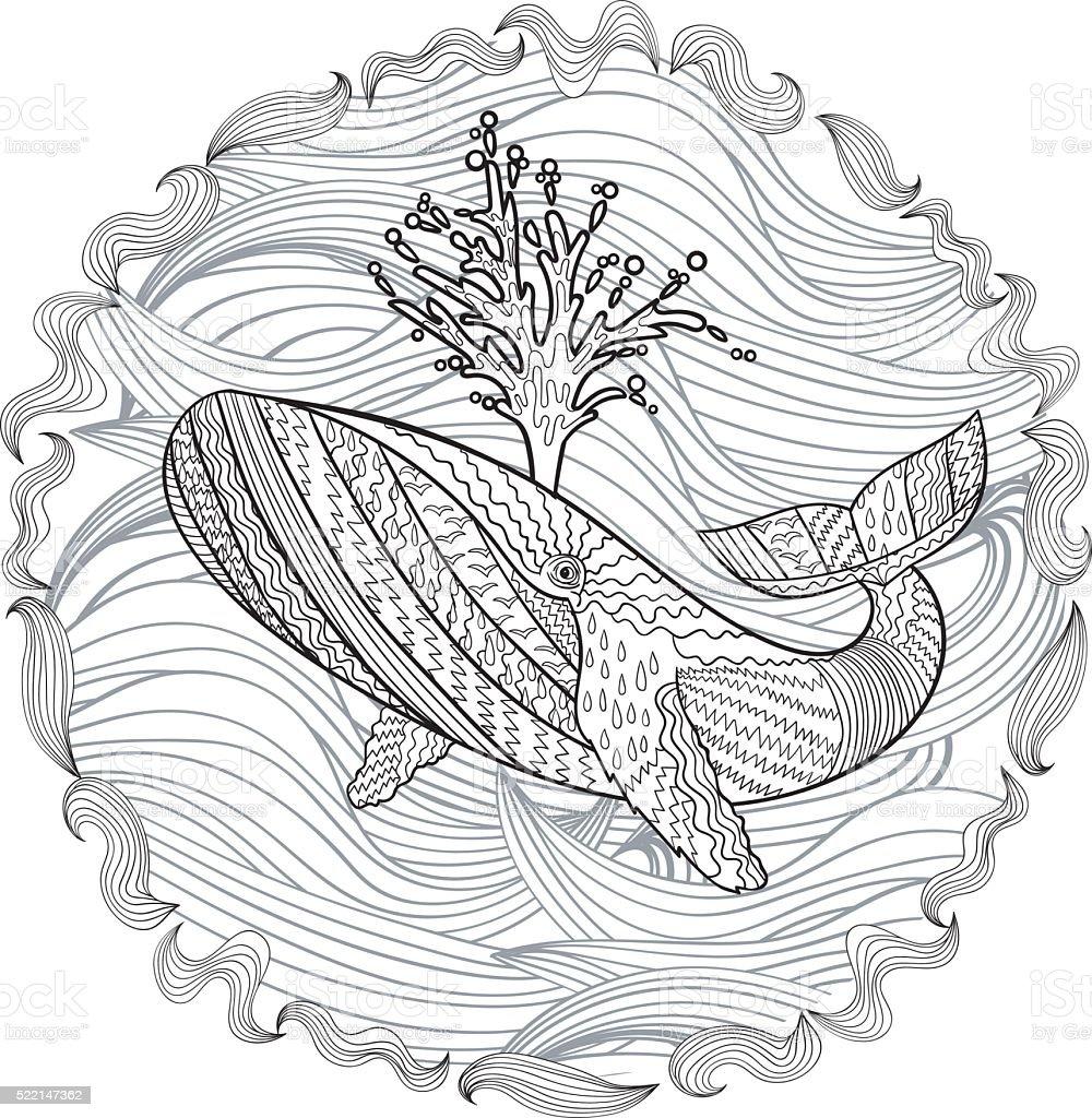 Handgezeichnet Buckelwal in den Wellen. – Vektorgrafik