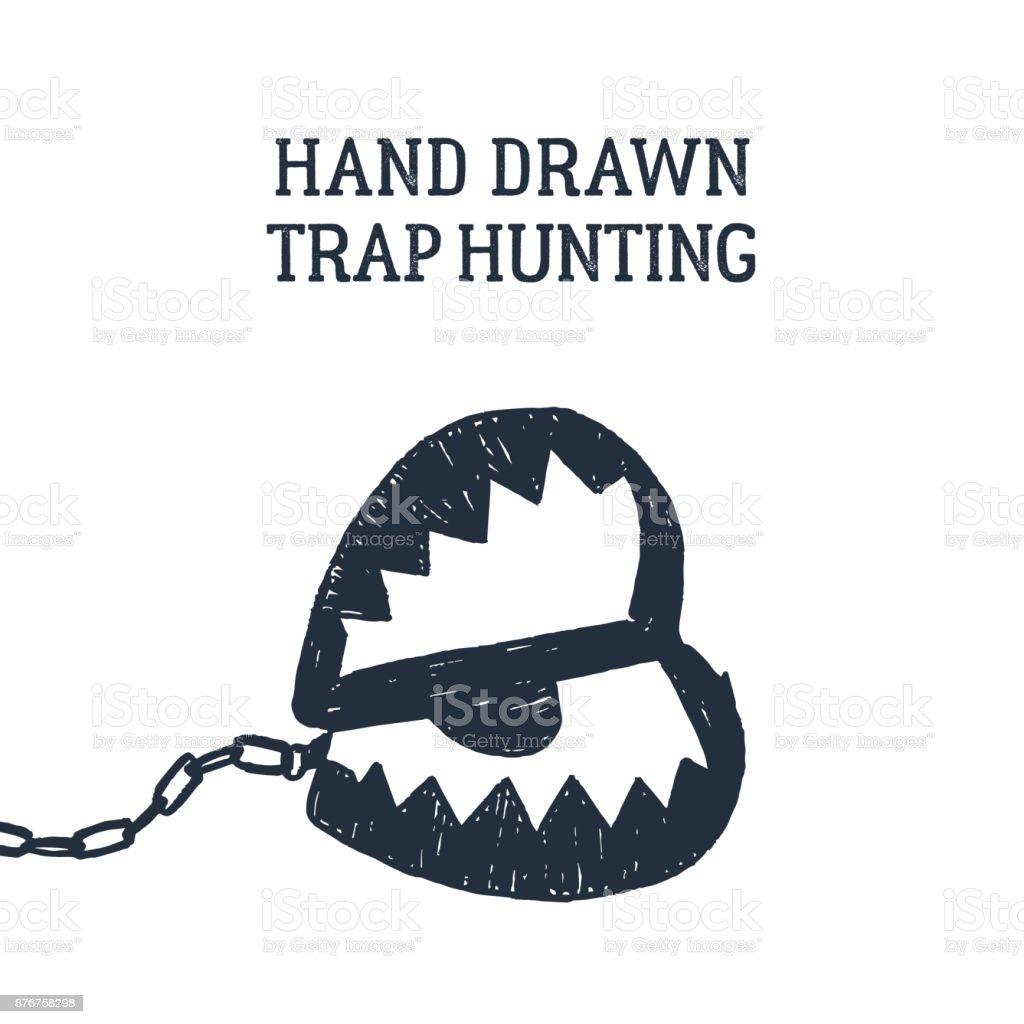 Hand drawn hunting trap vector illustration. vector art illustration