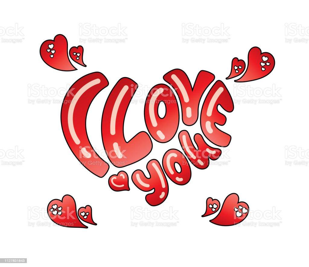 Dessines A La Main Je Taime Lettrage Pour Saint Valentin Avec Des
