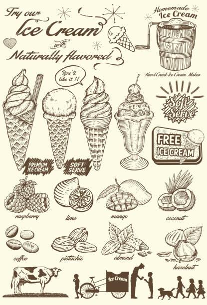 Hand drawn Ice Cream Menu, Vector Illustration No layers ice cream sundae stock illustrations