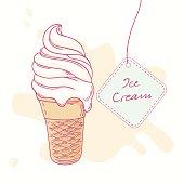 Hand drawn ice cream sundae in waffle cone isolated. Vector illustration