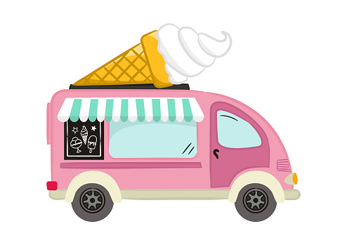 Hand drawn ice cream van isolated on white background.