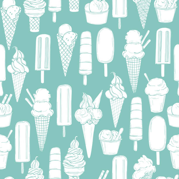 Hand drawn  ice cream. Vector   pattern Hand drawn  ice cream. Vector  seamless pattern bowl of ice cream stock illustrations