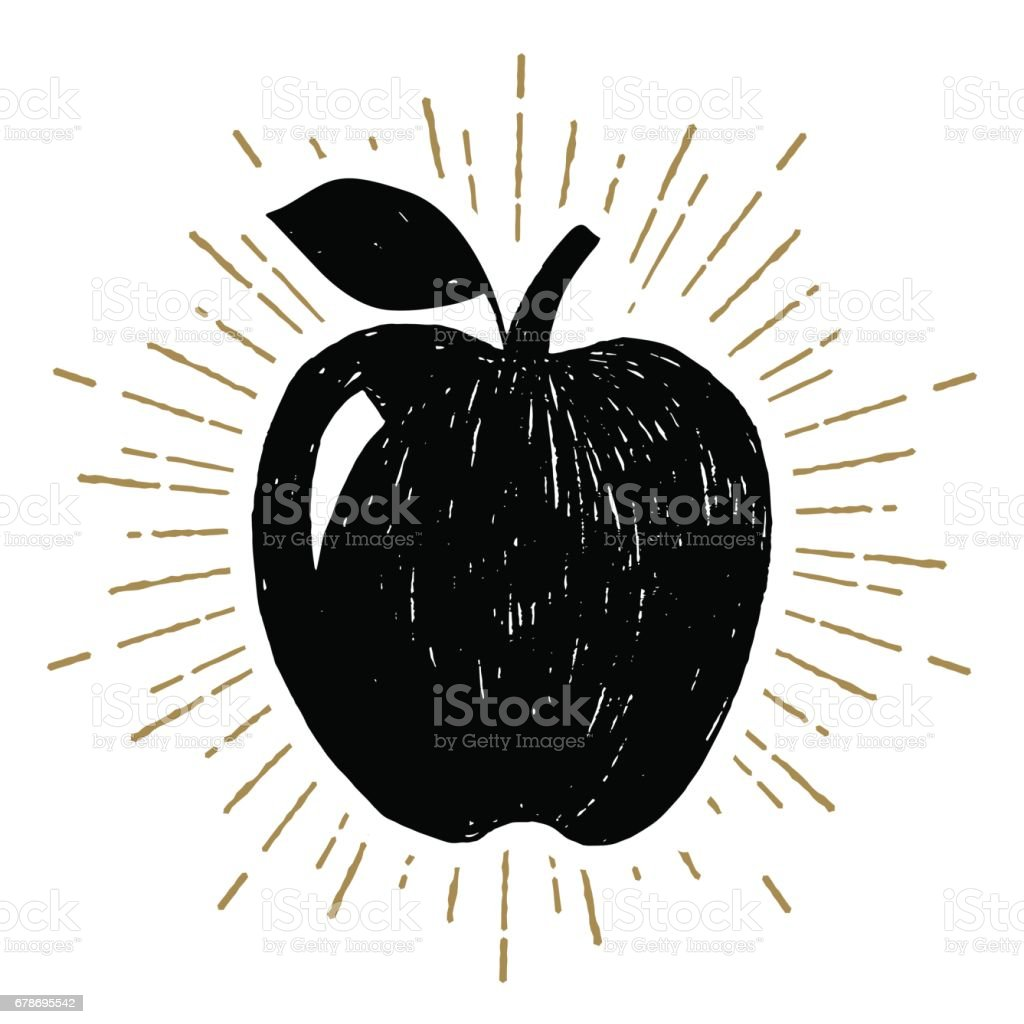 Icône dessinée main avec illustration vectorielle apple texturé - Illustration vectorielle