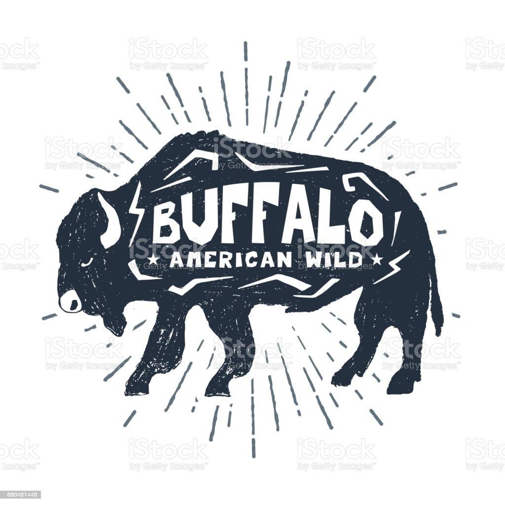 Hand drawn icon with textured buffalo vector illustration. vector art illustration