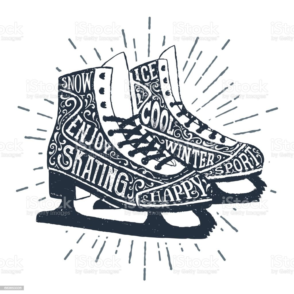 Hand drawn label with textured ice skates vector illustration and...