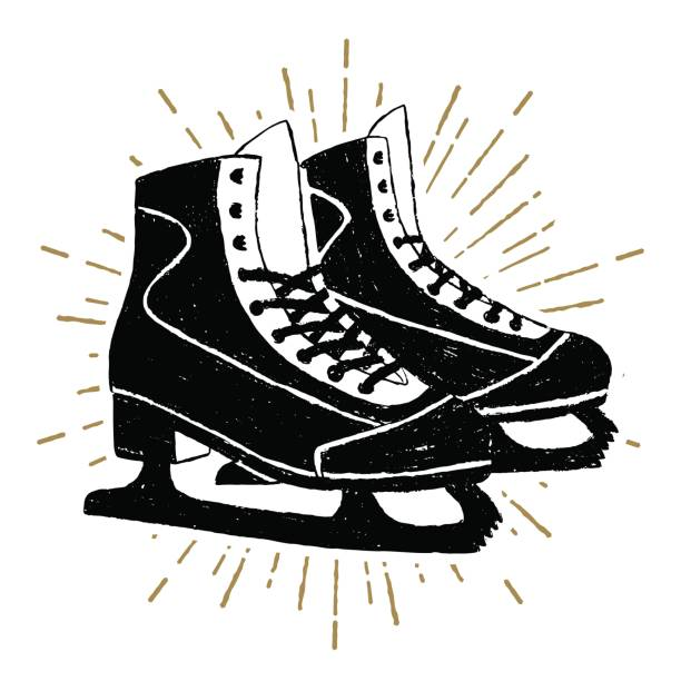 Hand drawn icon with textured ice skates vector illustration Hand drawn icon with textured ice skates vector illustration. figure skating stock illustrations
