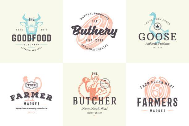 ilustrações de stock, clip art, desenhos animados e ícones de hand drawn icons and labels farm animals with modern vintage typography hand drawn style set vector illustration - meat texture