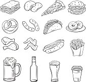 Hand drawn icons for Street Cafe. Beer snack and fast food outline drawing set vector illustration.