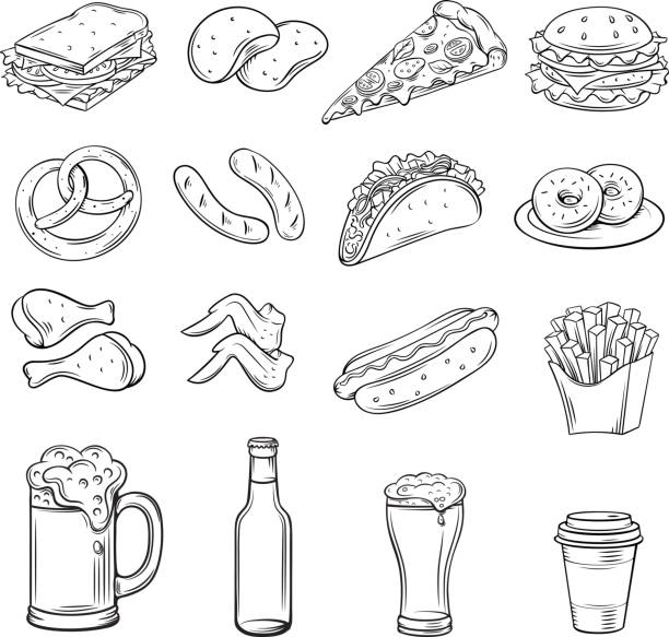 hand drawn icons for street cafe - taco stock illustrations, clip art, cartoons, & icons