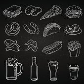 Hand drawn icons for Street Cafe. Beer snack and fast food outline drawing set vector chalk board iillustration.