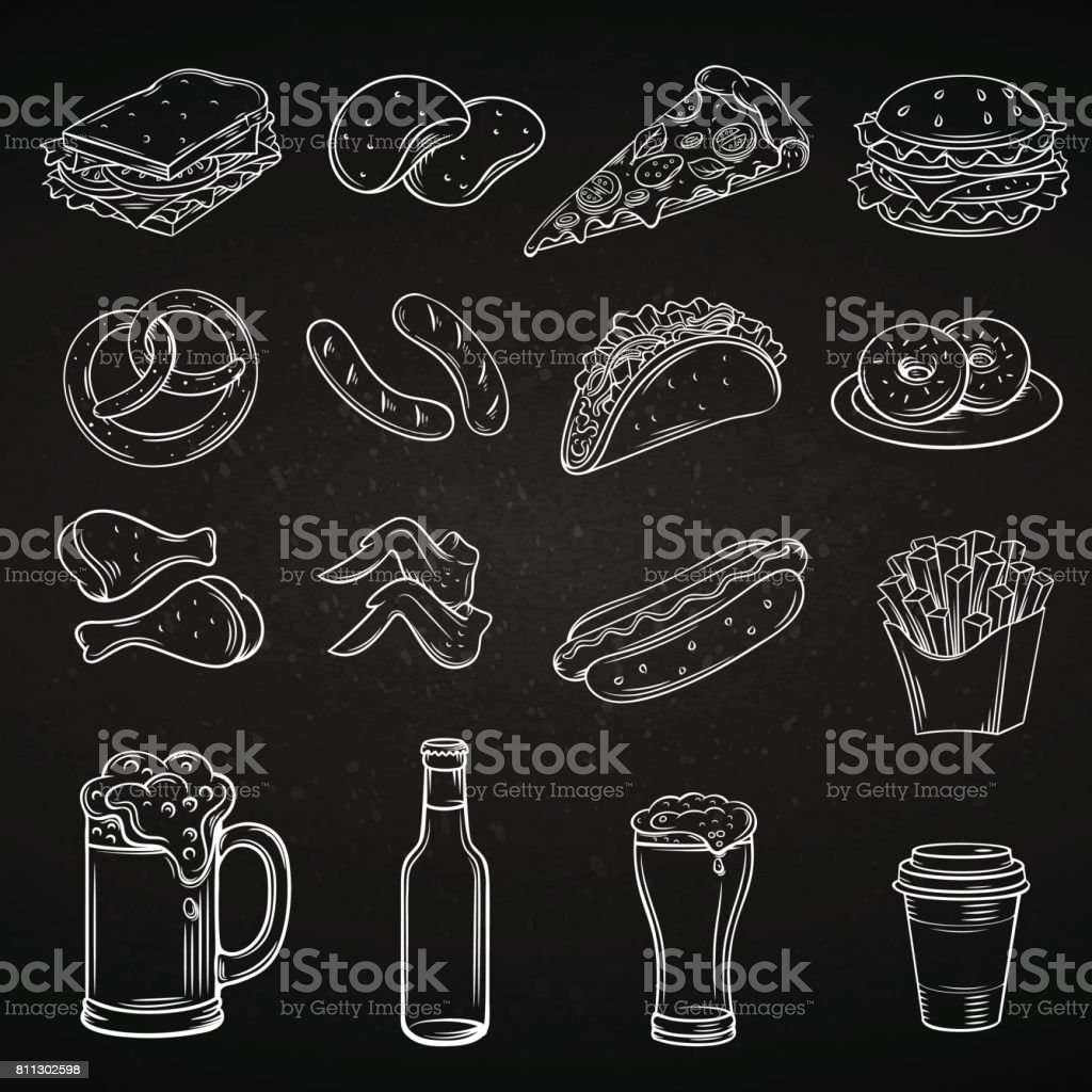 Hand drawn icons for Street Cafe vector art illustration