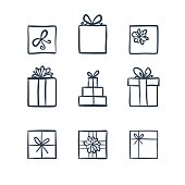 Hand drawn icons gifts
