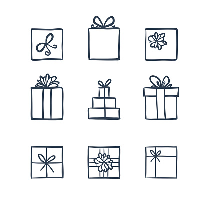 Hand Drawn Icons Gifts Stock Illustration - Download Image Now