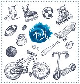 Hand drawn icons of sport equipment. Vector sketch