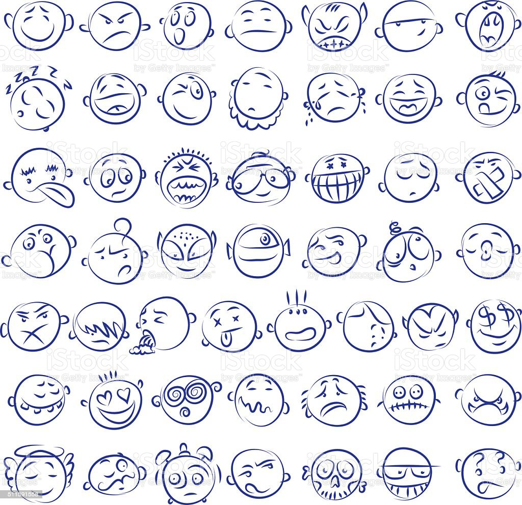 Hand drawn icons vector art illustration