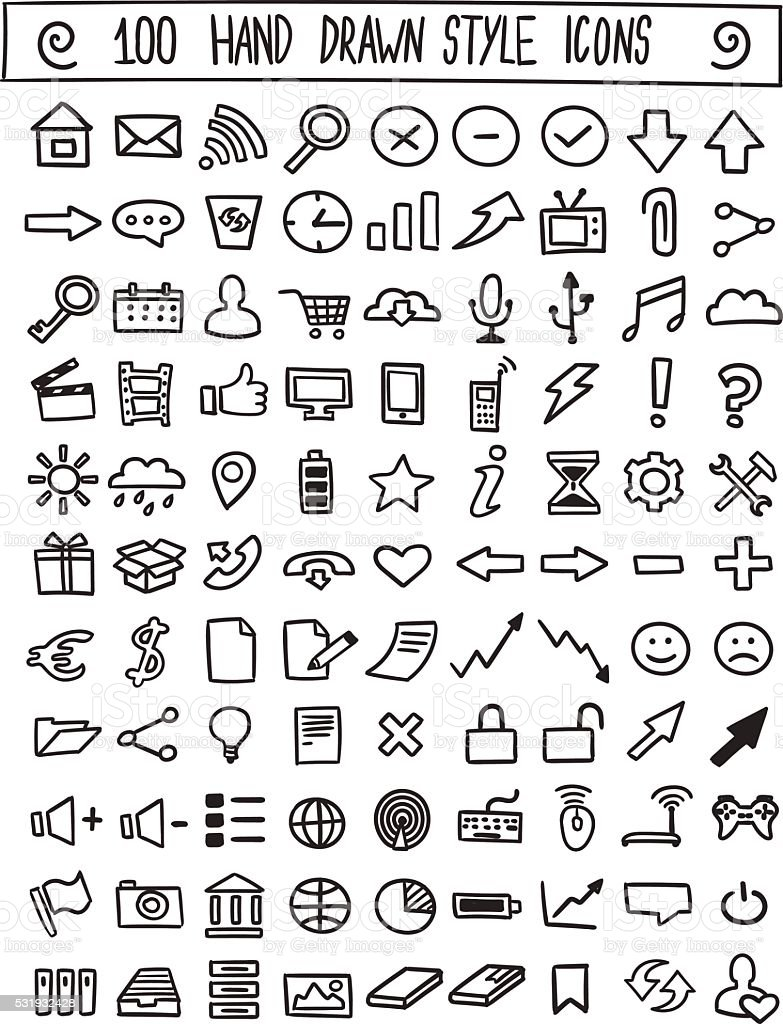 Hand drawn icons vector set vector art illustration