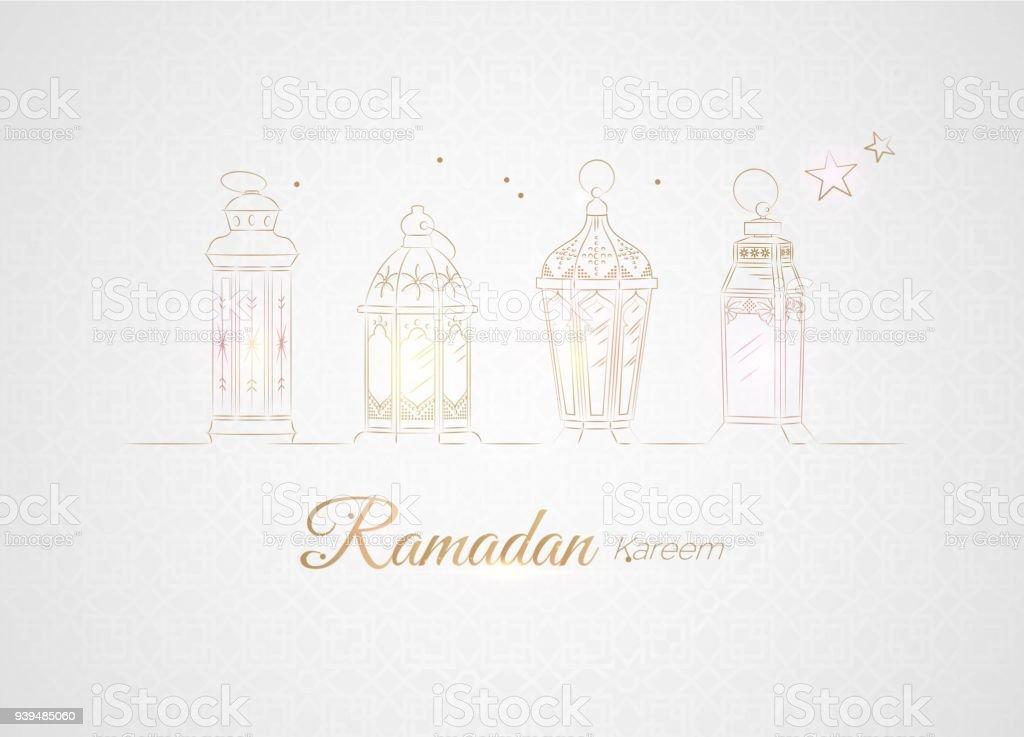 Hand Drawn Illusration of Golden Ramadan Lanterns with Lights on White Background. vector art illustration